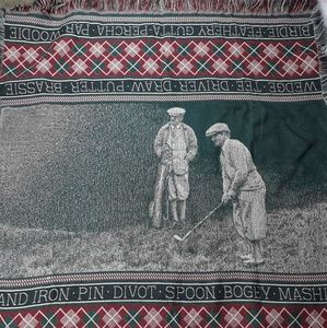 Vintage Golf Woven Throw Blanket Tapestry Afghan